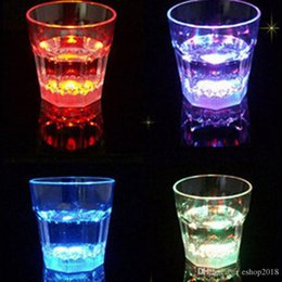 Wholesale 24pcs Colorful Led Cup Flashing Shot Glass Led Plastic Luminous Cup Neon Cup Birthday Party Night Bar Wedding Beverage Wine flash small cup