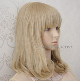 medium length cosplay wigs girls curly wig with bangs pear linen wig heat resistant womens short bobo wigs synthetic hair cheaps