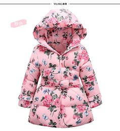 Wholesale Children Down Coat For Winter New Arrival Big Girls Coat Kids Clothing Love Bow Waist Printed Children Down Jacket CD124