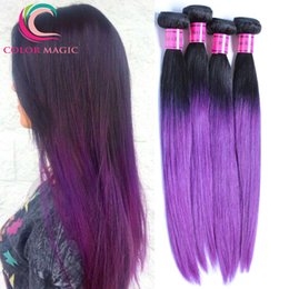 "1B Purple Ombre Filipino Virgin Hair Bundle Deals Straight Human Hair Weave 8"" - 30"" Ombre Filipino Virgin Straight Hair"