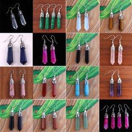 Wholesale 15X Mix Different Order Ladies Beautiful Natural Gem Stone Hexagon Prism Point Healing Chakra Dangle Earrings Charm European Classic Jewelry
