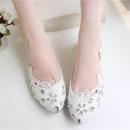 Ivory Flower Wedding Shoes Rhinestone High Heel Pump Imitation Pearls Multi-High-Heel Bridal Shoes Bridesmaid Flat Heel Women Shoes Cheap