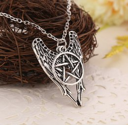 Wholesale Silver Chain Sellers - Antique Silver Necklace Supernatural Pentagram Necklace Castiel Wings Angel Wicca US SELLER Jewelry New Arrival