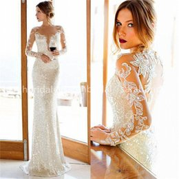 Wholesale 2015 Nurit Hen Sparkly Sequined Sheath Wedding Dresses with Plunging V Shape Cut and Sheer Crew Neck Long Sleeves Bridal Reception Gowns
