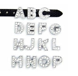 "8MM Full Rhinestone Slide Letters ""A-J Can Choose Each Letter"" (20PCS lot) For DIY Wristband & Bracelet"