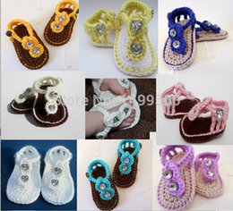 Wholesale Sandals For Models - Wholesale-20%off!Hot models Crochet Baby Shoes Gladiator Sandals -Flip Flops - Baby Booties Shower for Baby Girl 3pairs 6pcs