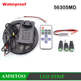 1Pcs 5M Roll 5630 Waterproof notwaterproof LED Strip String Light Tape Lamp+12V Power Adapter+RF Remote Controler+DC Connector