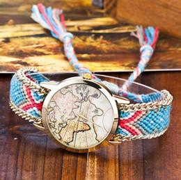 2018 The World Map Pattern Women rope bracelet watch fashion design dress weave wool bands quartz wrist watch Lady Style Watches