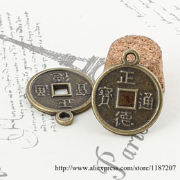 Wholesale DIY Jewelry Accessories Antique Bronze Tone Vintage Alloy Chinese Ancient Coins Round Pendant Charms mm