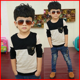 2016 New Kids Wear Fashion Boys Round Neck Shirts Boys Clothes Knitted Shirt Children T Shirts Boy Gray Casual Pullover Long Sleeve T Shirt