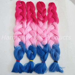 Kanekalon Jumbo Braid Hair 82inch 165g Red&Pink&Blue Ombre three tone color xpression braiding box Synthetic hair extensions in stock