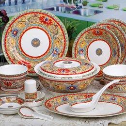 China réglé 56 en Ligne-lustrée gros-céramique ouvertement 56 cadeau bone china vaisselle set -