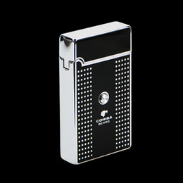 Wholesale COHIBA Portable Square White Plaid Pattern Titanium Torch Jet Flame Air inflatable Cigar Lighter