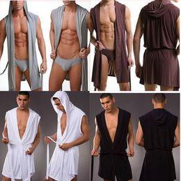 Wholesale-Fashion men casual sexy fitness slik bathrobe sleeveless robe underwear sex Lungewear series 4 colour S , M ,L