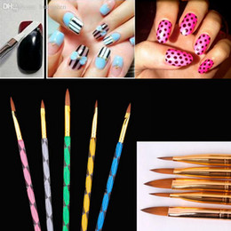 Wholesale-5pcs Nail Ar Sable Acrylic Nail Art Design Paint Painting Brush Pen, 5 Sizes