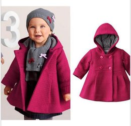 Wholesale Cute Christmas Baby Girl Clothes - baby girl coats jackets warm winter children outwear fashion kids clothing hoodies Christmas coats Loose coat 2 colors 4-24M