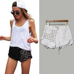 New Style Rivet Jean Shorts Hip Hop Club Party Bottoms Women Casual Mini Jeans Hot Shorts Design Beach Shorts BSF0361