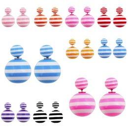 Wholesale 2015 Fashion Earrings Hot Selling Double side Stripe Pearl Stud Earrings Big Pearl earrings for Women free shopping