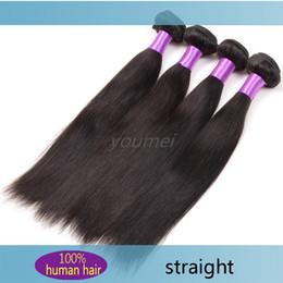 Peut teindre remy extensions de cheveux en Ligne-Brazilian Virgin Remy Extensions de Cheveux 4 Bundles Brazilian Straight Style Unprocessed Virgin Hair Weaving peut être teint Cheveux Wefts