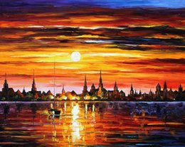 Wholesale oil Painting Leonid Afremov art for sale sunset in barcelona Canvas Hand painted High quality
