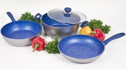 Wholesale Blue Spphire Stone inch Fry Pan deep Fry Pan sauce pot with lid mm Thickness PFOA Free with Recipe Book