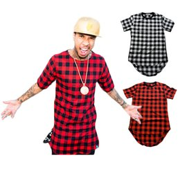 Wholesale Side Zipper Plaid High Quality Star Look Man Fashion Hip Hop Skakeboard Streetwear Swag T shirt Tops Tees Men Tyga Style