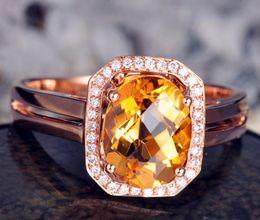 Wholesale Solid K Rose Gold Natural Diamond Ravishing Citrine Ring R0121