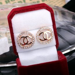 Wholesale wish_team Bling Bling round shaped Crystal Rhinestone Stud Earrings Korean exquisite Letter CC earrings Fashion Jewelry for women W657