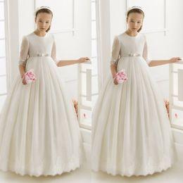 2016 first communion dresses for girls Tulle Ball Gown Half Sleeve Flower Girl Dresses for weddings girls pageant dresses