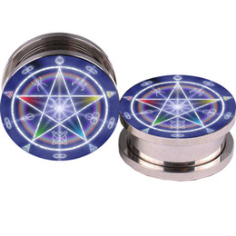 Baphomet Pentagram Logo Ear plugs tunnel 5-16mm ear piercing ear fake plug UV flesh tunnel earrings piercing body
