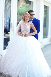 Spring 2016 Cheap Lace Wedding Dresses See Through Illusion Wedding Gowns Plus Size Sleeveless Vestidos De Novia Bridal Gowns