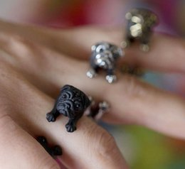 Min 1pc 2015 New Retro Animal Bulldog Ring in Antique Silver and Antique Bronze Adjustable Vintage Rings for Women JZ316