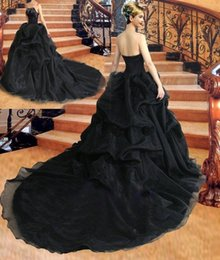 Vintage Gothic Black Wedding Dresses Ball Gown Strapless Beadings Organza Court Train Bridal Gowns Lace up Back Custom Made W953