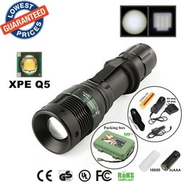 ALONEFIRE E3 CREE XP-E Q5 LED Zoomable CREE Led flashlight with portable flashlight Torches with 18650 Battery charger holster box
