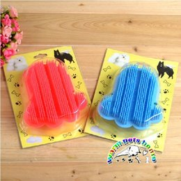 Dog bath brush red blue soles shape rubber dog brush pet hair brush dog shedding grooming tools