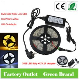 Wholesale 5M LED SMD V Flexible LED strip light DC Connecter V A Power Supply Adapter Cold Warm White Blue Red Green Yellow