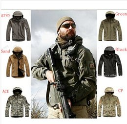 Wholesale High quality TAD Stealth Sharkskin Softshell Jackets Military Outdoors Waterproof Camouflage Coat Men Hike Hunting Tactical Hoodie Sports Ja