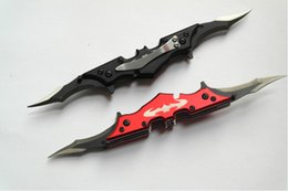 Wholesale OEM Red and Black Batman Two Dual Bladed Knife double action The Dark Knight HRC surface Titanium knife survival TNT POST