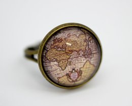 Wholesale 10pcs Europe Vintage World Map Ring Version Antique Bronze Glass Cabochon Ring