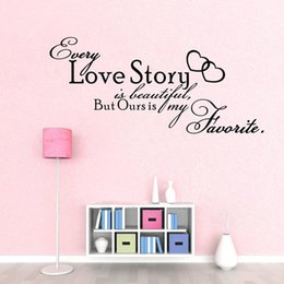 2 styles large size free shipping romantic bedroom sticker -- every love story is beautiful vinyl wall decal quote stickers