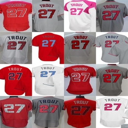 Mens Womens Kids 2017 All star Los Angeles 27 Mike Trout Fashion Training Mother father Cool Flex Base Red Grey Baseball Jerseys