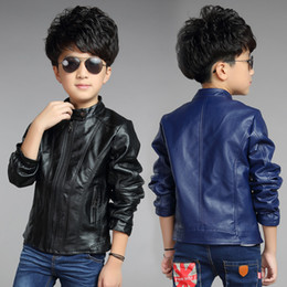2015 Children Fashion Outerwear Spring & Autumn New baby Boys Clothes Coats Faux Leather coat jacket children clothing top suit 100-160