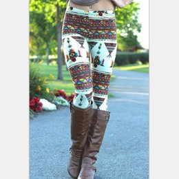 Wholesale 2016 Aztec Leggings For Women Stretchy Knit Christmas Snowflake Leggins Ankle Length Tribal Printed Casual Skinny Slim Legging