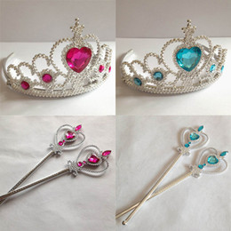 Wholesale Frozen Cinderella sets kids Party Accessories Girls Frozen cosplay Ornaments Magic Wand Rhinestone Crown DHL free MOQ SVS0034