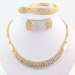 New Vintage Gold Necklace Bracelet Ring Earring Fashion Full Rhinestone 18K Gold Plated Wedding Party Jewelry Sets