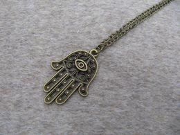 wholesale Hamsa Hand Necklace,Antique Brass Necklace,Fatma Hand ,Boho jewelry,Long Necklace
