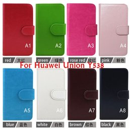Wholesale Hot Selling Luxury Leather Flip Phone Case For Huawei Union Y538 cover Inside With Credit Card Slots Color Free DHL