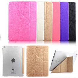 Wholesale Xmas Gift Folding Stand Transformers Flip Silk Leather Case Magnetic Smart Cover with Automatic Sleep for iPad Mini Air Air2