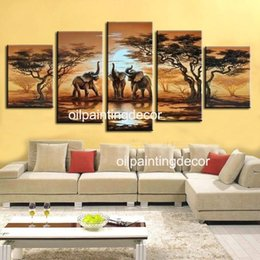 Wholesale Handmade Abstract Pieces Art Oil Picture Sunset Landscape African Paintings On Canvas Elephant Decoration Modern Sets For Wall