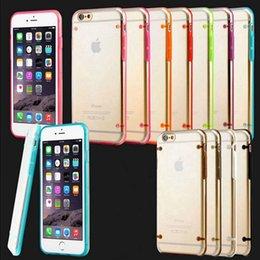 Pour iPhone 6 6 plus 4S 5S Galaxy S6 S5 S4 Luminous TPU Bumper souple cristal clair dur PC transparent Back Cover Case P026 à partir de pare-chocs 5s transparent fabricateur